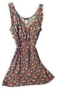 Spring Step short dress pink black multi floral print Ruffle on Tradesy