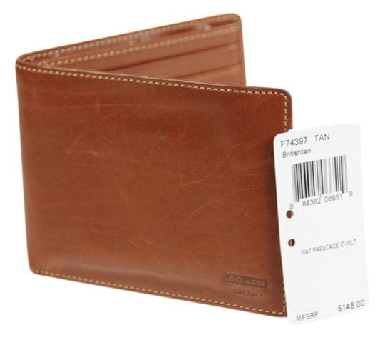Coach * Coach Passcase ID Leather Wallet - Tan