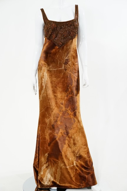 Preload https://item1.tradesy.com/images/escada-brown-velvet-beaded-marbled-long-formal-dress-size-6-s-408580-0-0.jpg?width=400&height=650
