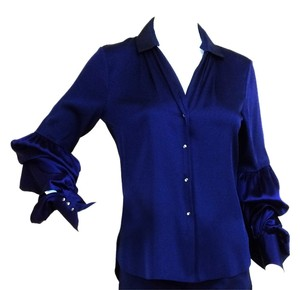 Elie Tahari Leona Button Down Silk Spandex Top Rothko Blue/ Navy