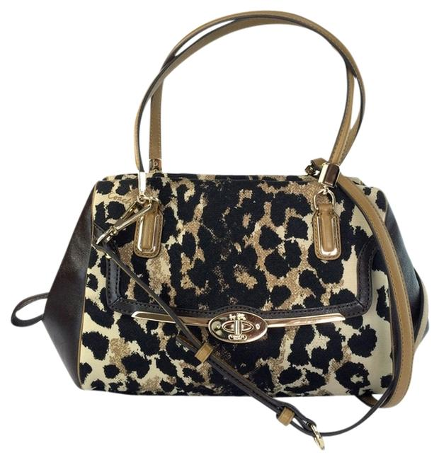 Coach Crossbody 25642 Madison Print Khaki Ocelot Brown Leather and Canvas Satchel Coach Crossbody 25642 Madison Print Khaki Ocelot Brown Leather and Canvas Satchel Image 1