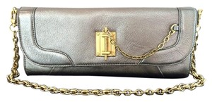 Rachel Zoe Leslie Evening Clutch Silver Leather Metallic Shoulder Bag