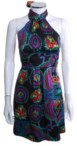 Betsey Johnson short dress BLACK MULTI Halter on Tradesy