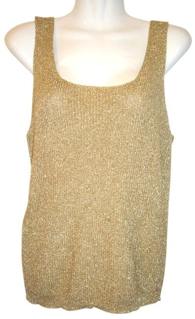 Effeci Shimmering Golden Sleeveless Top Gold