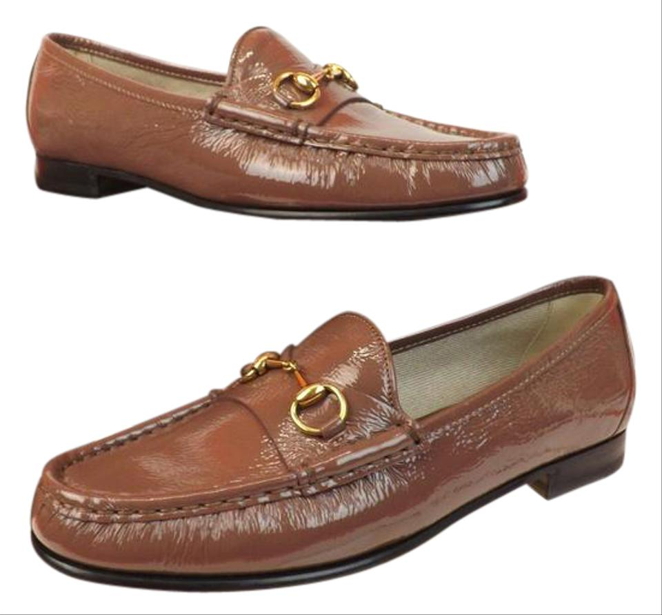 75269e02652 Gucci Old Mauve Horsebit 1953 Patent Texture Leather Gold Loafers Us6.5  Flats