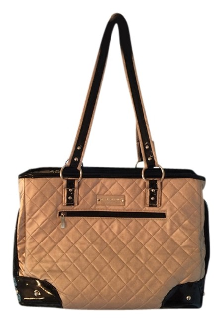 Item - Pet Carrier Gold and Black Vinyl Faux Patent Leather Tote