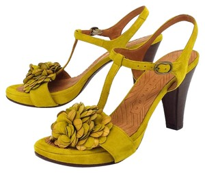 Chie Mihara Suede T-strap Floral Applique Yellow Sandals