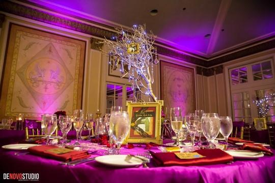 Gold Ceremony Manzanita Trees with Lights Centerpiece