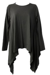 Other For The Republic Asymmetrcial Hemline Pima Cotton Black Top