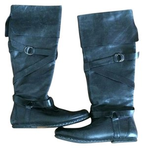 Steve Madden Leather Buckles Strap Fold Over black Boots