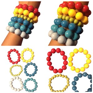 6 Like New Pretty Rainbow Different Color Bead Bracelets