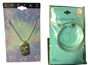 Other 2 PC NEW Zodiac Arias Green Glitter Sparkle Necklace And Silver Hoop Earrings Jewelry Lot Bundle
