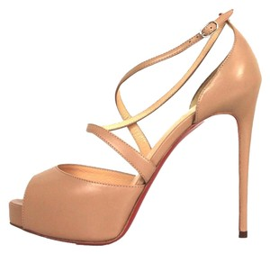 Christian Louboutin Leather Strappy Stilleto Cross Me 150 Mm Platform Nude Sandals