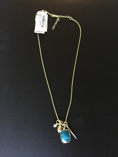 Studio Silver Studio Silver Blue Aventurine (6 ct. t.w.) and Cubic Zirconia Multi-Charm Necklace in 18k Gold over Sterling Silver