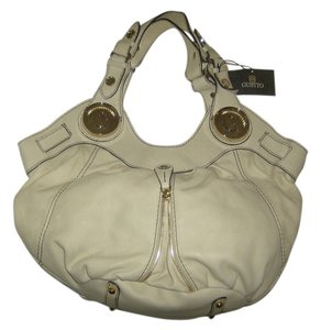 Gustto Leather Hobo Satchel in Beige