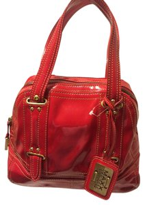 Maxx New York Vibrant Patent Leather Satchel in red