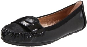 BCBGeneration Pony Hair Calf Calfskin 36.5 6 6.5 Patent Leather Black Flats
