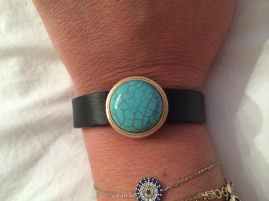 Other Turquoise & Brown Faux Leather Bracelet