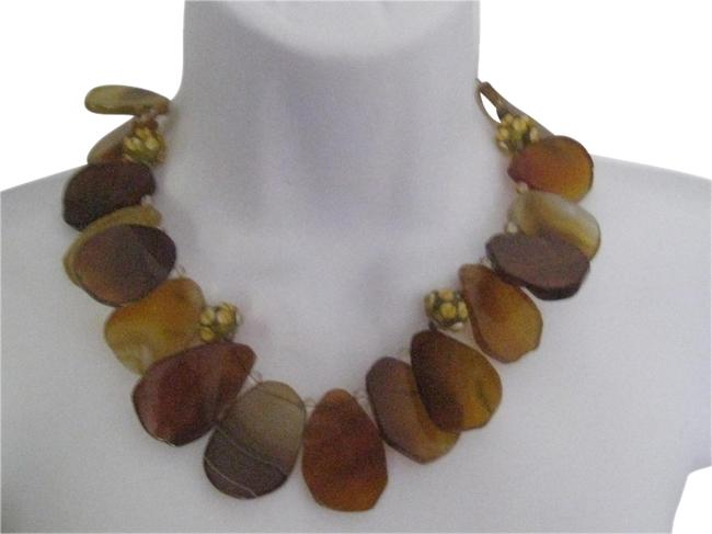 Item - Buttetscotch 38613 Natural Agate Free Form Slice Stone Necklace