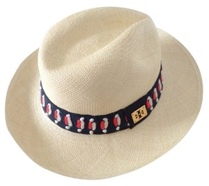 Tory Burch NWT Tory Burch Top Stitch Fedora Hat Natural Multi Color