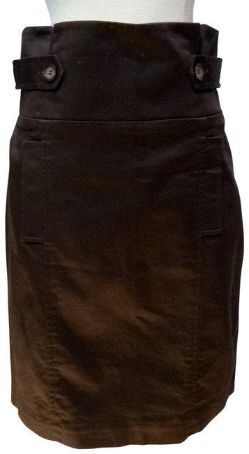 BCBGMAXAZRIA High Pleated Waist Skirt dark brown