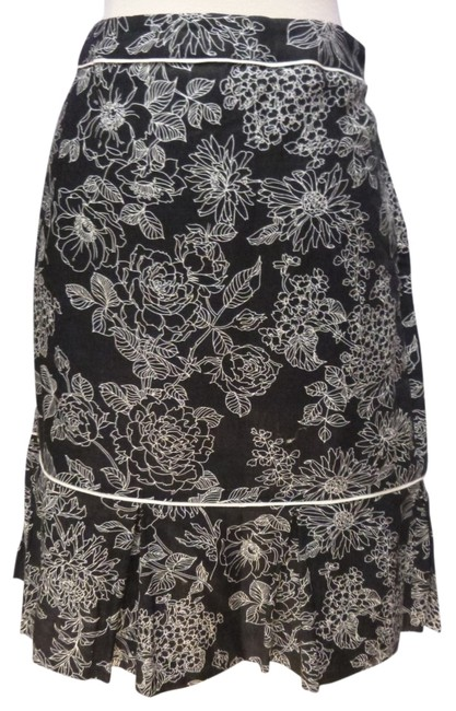 Ann Taylor LOFT Linen Pleated Hem Skirt black/white