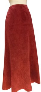 Danier Leather Mid Calf Skirt wine