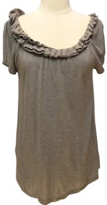 BCBG Max Azria Ruffled Collar Knit T Shirt gray