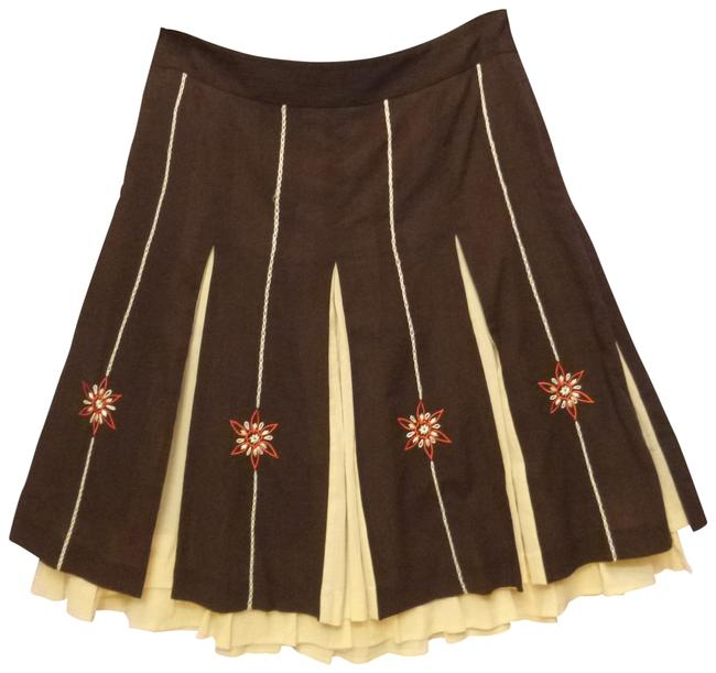 Ann Taylor LOFT Pleated Embroidered Skirt brown