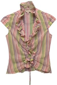 Trina Turk Striped Ruffled Top multi