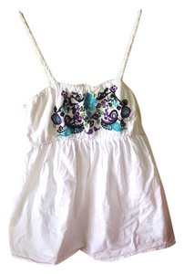 Byer California Boho Bohemian Embroidered Empire Waist Summer Top White