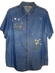 Basic Editions Plus Button Down Shirt Denim with Embroidery