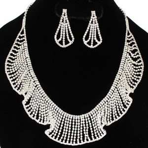 Silver Lace Rhinestone Necklace and Earring Jewelry Set