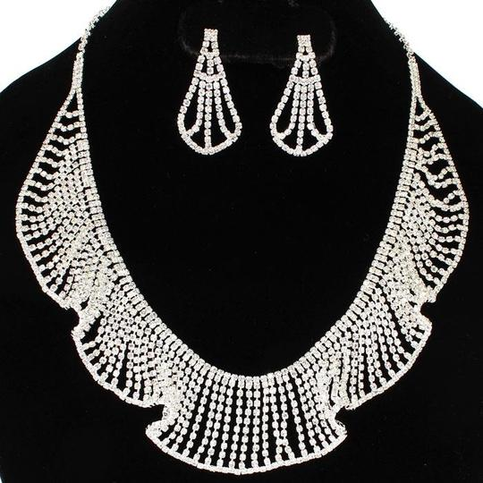 Silver Lace Rhinestone Necklace and Earring Set Jewelry Sets