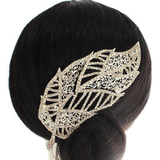 Silver Rhinestone Leaf Comb Hair Accessory