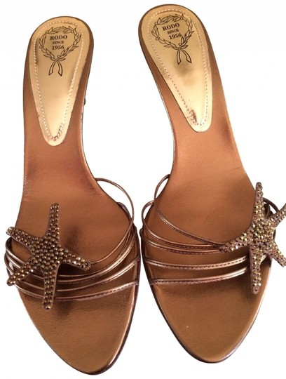 Rodo Leather Glitter Gold Sandals