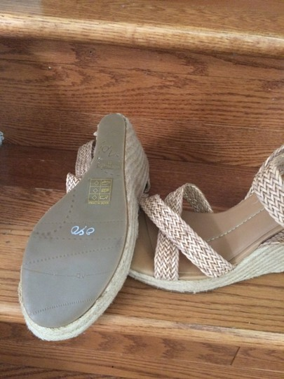 Dolce Vita Colored Braided Leather Wedge Heel camel Sandals