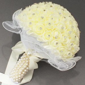 Ivory Rose With Rhinestone And Pearl Wrap Bridal Bouquet