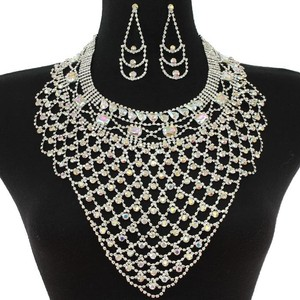 Ab Rhinestone Statement Bib Necklace With Earrings