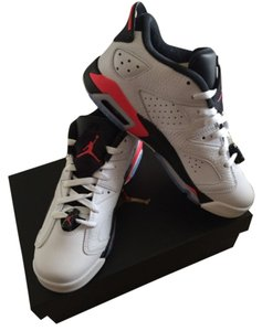 Jordan's White/ black and infrared pink Athletic