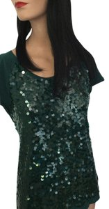 Ann Taylor LOFT Night Out Date Night Party Clubs Holiday Christmas New Year's Eve Sexy Designer Zipper T Shirt Sequins * Washable * Green