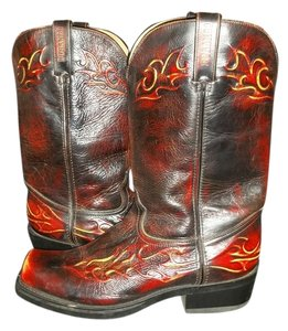 Durango Leather Cowboy Flames Burgundy Brush Off Boots