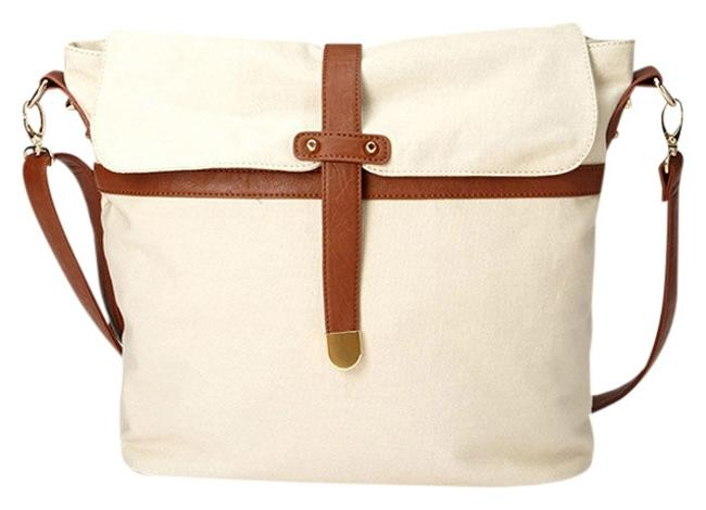 Item - Everyday From F21 Cream Canvas Featuring Faux Leather Trim Shoulder Bag