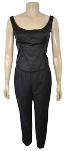 Escada ESCADA 2PC. MATCHING TOP AND PANTS BLACK SATIN TUXEDO SIZE 36/38 ON SALE BS