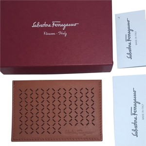 Salvatore Ferragamo Salvatore Ferragamo Credit Card Holder Wallet Drill Cinnamon Leather