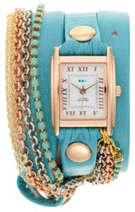 La Mer Collections Women's Turquoise & Multi Chain Wrap Watch