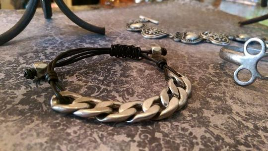 Fossil New Fossil silver, brown leather bracelet. Adjustable.