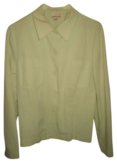 Karen Kane Linen Light Shirt Button Down Shirt Green