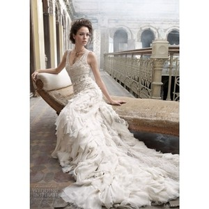 Lazaro Cream Lz3202 Vintage Wedding Dress Size 2 (XS)