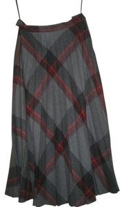 Suit World Winter Wool Skirt Gray/Red